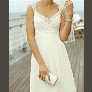David's Bridal Chiffon Beaded Pearl Wedding Gown